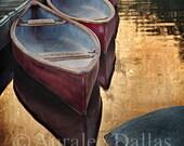 Canoe Photo Red Canoe Landscape Photo Water Reflection Photo