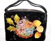 Veldore of Houston USA vintage 40-s hand decorated original frame bag evening purse