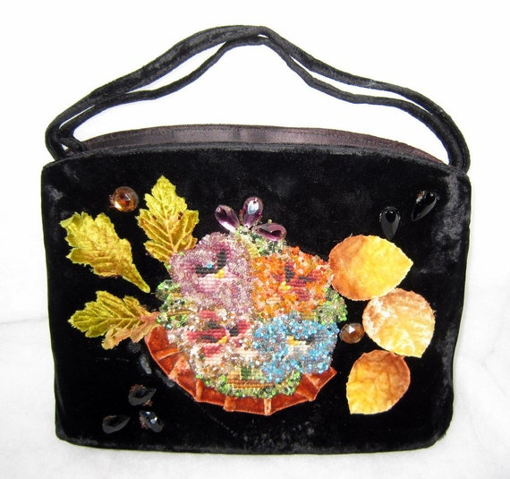 Veldore of Houston USA vintage 40-s hand decorated original frame bag evening purse