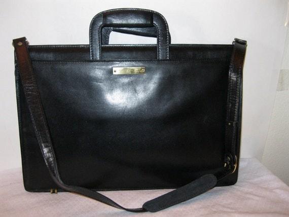 Genuine leather slim briefcase court bag in black vintage 70-s gorgeous