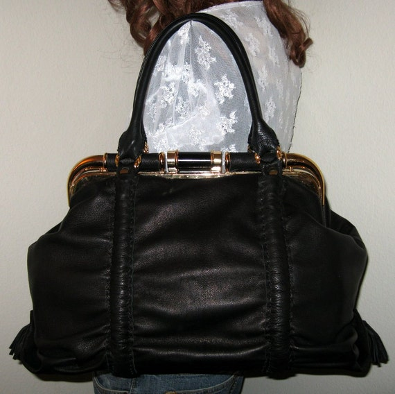 Ex Large frame bag doctors style bag in butter soft  thick genuine leather
