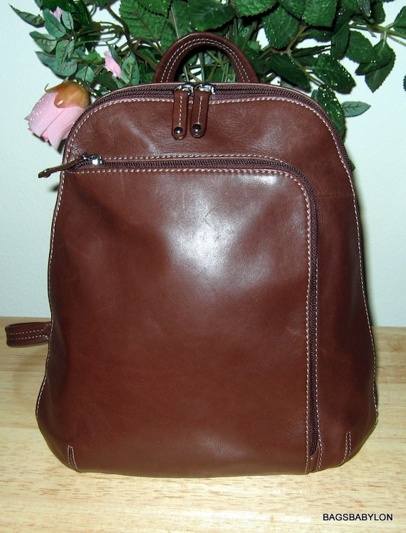 Flawless Tignanello Backpack Purse Tote Brown By Bagsbabylon