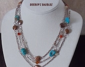 Southwest Treasure - Turquoise Nugget, Carnelian & Freshwater Pearl Necklace