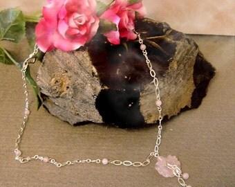 Rose Quartz Carved Flower Necklace