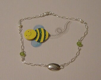 HOPE ANKLET - STERLING SILVER/PERIDOT/PEARL