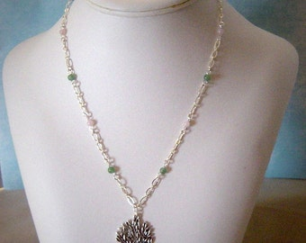 Cherry Blossom Rose Quartz & Aventurine Tree of Life Necklace