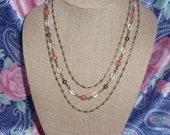 Crystal & Cherry Quartz Triple Strand Romance Necklace