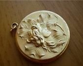 SALE Art Nouveau Clover Lady Repousse Gold Filled WH signed Locket