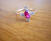 SALE Edwardian Pink Tourmaline and Rose cut Diamond Ring