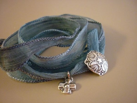 Blue Pure Silk YOGA wrap