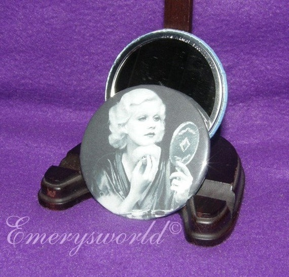 Actress Jean Harlow powdering her face 2.25 inch mirror