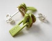 Tiny Chartreuse Green 1940s 'Talon' Vintage Zipper Slide Stud Earrings