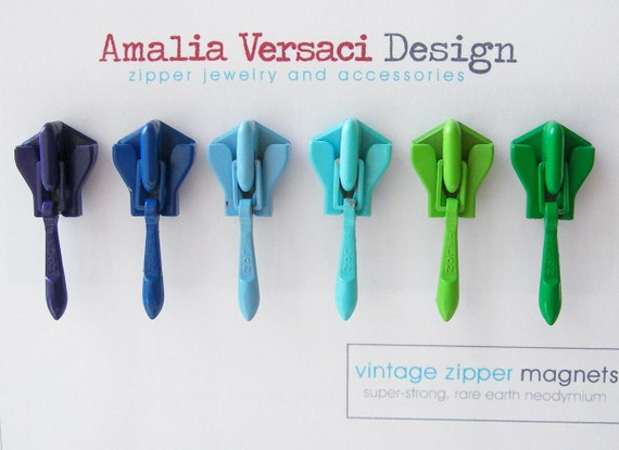 Magnets - 6 Vintage Invisible Zipper Slides in Cool Tones