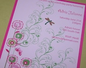 Butterfly and swirls birthday invitations set of 10
