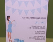 Baby shower invitation pregnant girl and banners