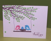 Personalized Baby Thank you cards, baby shower thank you card, birds nest (set of 10)