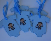 Baby shower onesie shaped gift tags brown and blue monkey (set of 6)