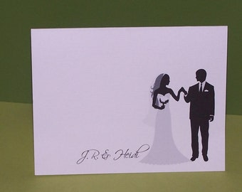 Wedding thank you card Bride and Groom Silhouette thank you cards (set of 10)