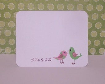 Thank you cards, Bird postcard style thank you cards set of 10