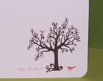 Thank you cards, personalized cards, pink crows (set of 10)