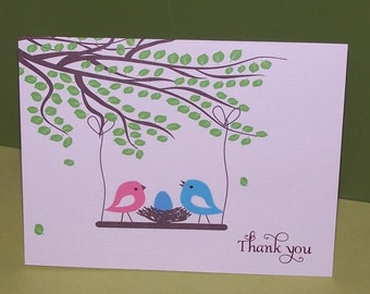 Baby Thank you cards, baby shower thank you cards, baby thank yous, birds nest (set of 10)