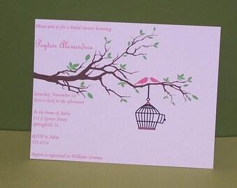 Bridal shower invitation, bird bridal shower invitation set of 10