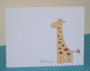 Baby Thank you Cards, Giraffe Personalized Cards (set of 10)