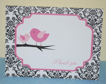 Baby thank you cards, Baby shower thank you card, damask and pink birds, baby girl (set of 10)
