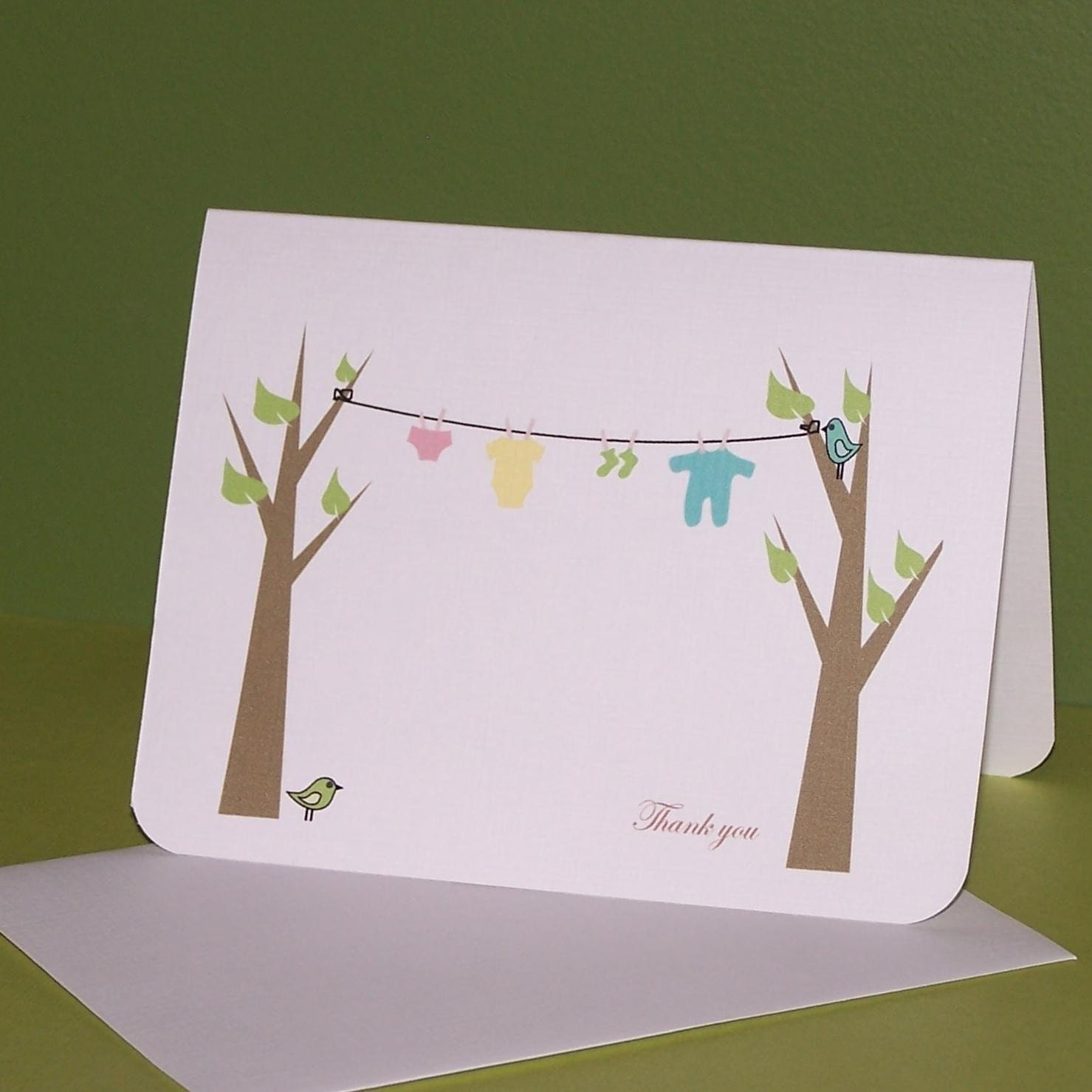clothesline baby shower thank you cards set of 10