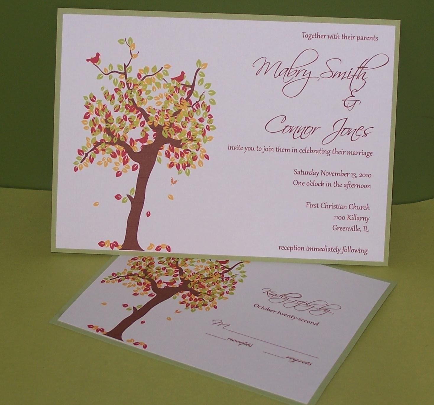 Wedding Invitation Tree: Personalized Wedding Invitation Fall Tree By