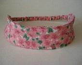 Boutique Fabric Hip Headband...Soft Pink Flowers (No. 114)