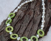 Fresh Water Pearl and Green Shell