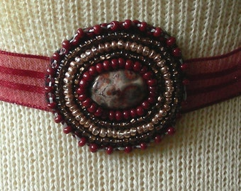 Leopard Skin Jasper Beaded Choker / Head Band / Hair Tie - Adjustable Length - OlyTeam