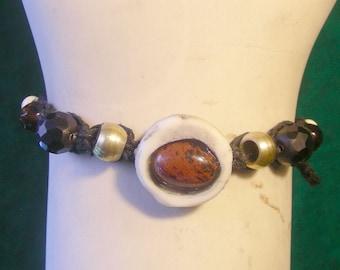 Mahogany Obsidian Carved Shed Elk Antler Black Hemp Bracelet Anklet Adjustable Length OlyTeam