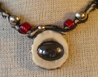 Hematite Carved Shed Elk Antler Hemp Necklace Adjustable Length with Hematite Beads Medium Size in Black Red Gunmetal Silver OlyTeam