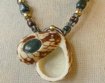 Carved Tagua Nut Bloodstone Pill Box Hemp Necklace Adjustable Length Extra Large Size OlyTeam