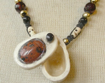 Mahogany Obsidian Shed Elk Antler Pill Box Black Hemp Necklace with Onyx Semiprecious Stone Gemstone Beads Large Size OlyTeam