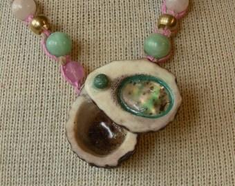Abalone Shell Carved Shed Elk Antler Pill Box Pink Hemp Necklace with Amazonite Rose Quartz Gemstone Beads Adjustable Length Medium Size