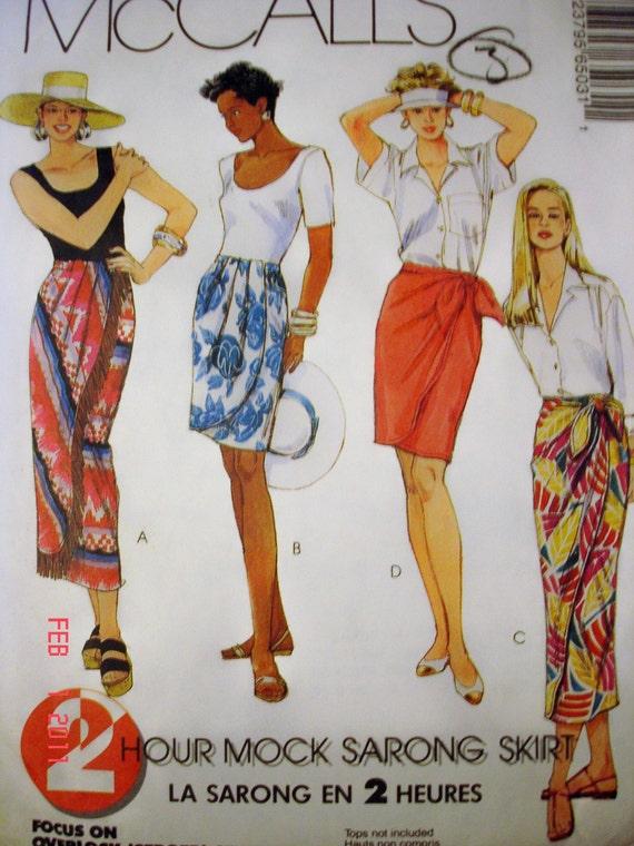 UNCUT McCalls 6503 Misses Mock Sarong Straight Skirt- Panel Variations, Hemline Slit, Pleats and Optional Fringe. Size 4-6, 8-10, 12-14
