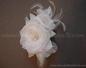 White or Ivory Bridal Hair Flower, Birdcage Veil Fascinator, Wedding Flower Head Piece, Pearl and Rhinestone Center - Mae