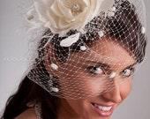 Bridal Birdcage Veil Wedge with Silk Flower, Fly-Away Netting and Rivoli Crystal Rhinestone Center