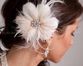 Bridal Feather Hair Piece, Soft White or Light Ivory, Champagne Streamers, Swarovski Rhinestone Center, Birdcage Fascinator  - Estelle