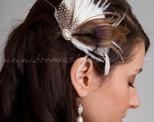 Ivory or Diamond White with Brown Bridal Birdcage Feather Fascinator, Peacock Eye, Oval Pearl Rhinestone Center - Autumn Hair Piece