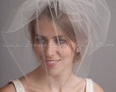 Tulle Birdcage Veil, Full Double Blusher Bridal Veil, Wedding Veil, White, Diamond White, Ivory, Champagne, Black, More Colors