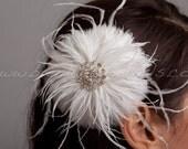 Bridal Feather Flower, Birdcage Veil Fascinator, Soft Feathers, Swarovski Rhinestones - Samantha