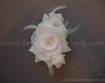 Pale Pink Light Ivory Bridal Flower, Birdcage Veil Fascinator, Wedding Flower Hair Piece - MissHill Flower Head Piece