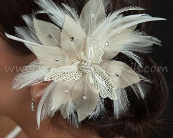 Bridal Hair, Ivory Lace and Champagne Flower Fascinator with Rhinestone Center, Bridal Birdcage Fascinator - Haven