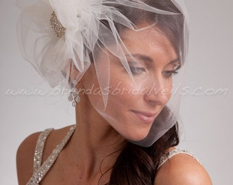 Bridal Veil Set, Tulle Side Blusher Birdcage Veil and Tulle Bridal Pouf with Crystal Brooch