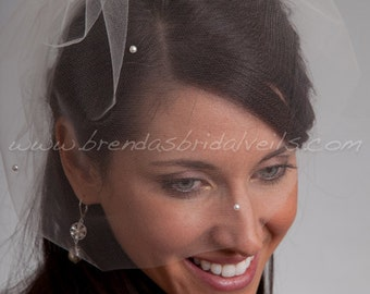 Bridal Birdcage Veil Tulle 11 Inch Blusher with Pearls, Wedding Veil, White, Diamond White, Ivory, Champagne, Black, More Colors