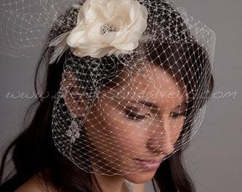 "Bridal Birdcage Veil Set, 9"" Veil with Fly-Away Netting and Hand Pressed Silk Flower Fascinator, Wedding Veil Set"